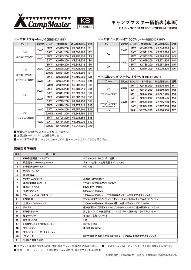 キャンプマスター価格表S